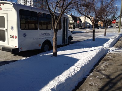 The Leader Dog bus parked next to a curb with ankle deep snow.